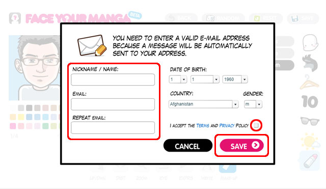 Face your manga mail