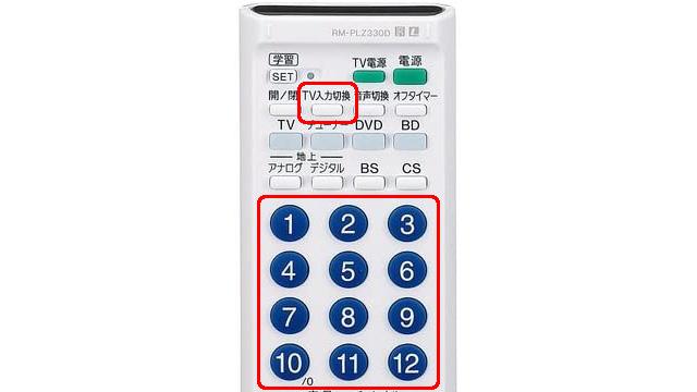 ソニー学習リモコン [TV入力切換]ボタンを押したまま以下の数字ボタンを押し、直接切り換えることもできます