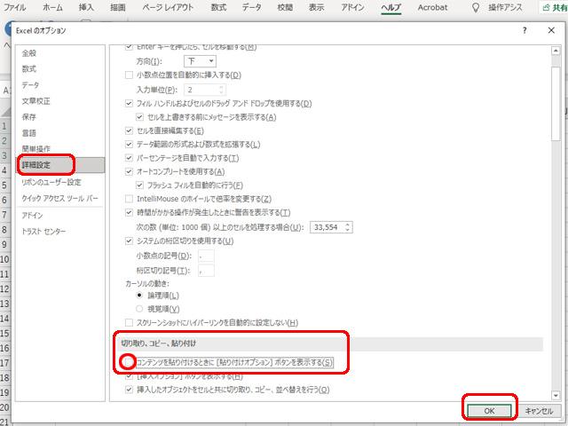 Excel コンテンツを貼り付けるときに貼り付けオプションボタンを表示する