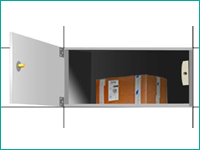 PUDO サイズの選択後、開いた扉の中に荷物をいれる
